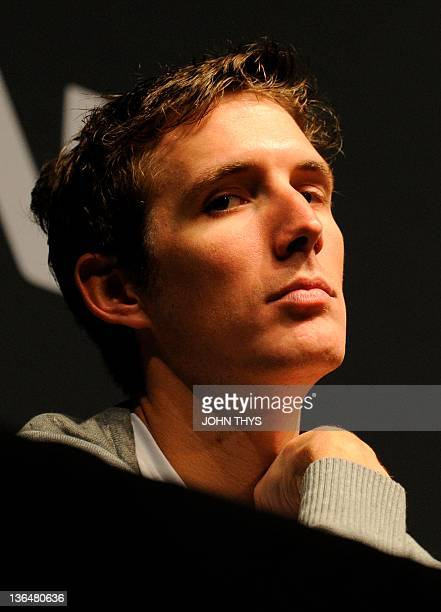 Luxembourger cyclist of American team Radioshack Andy Schleck looks on during the presentation of the cycling team RadioShack on January 6 2012 at...