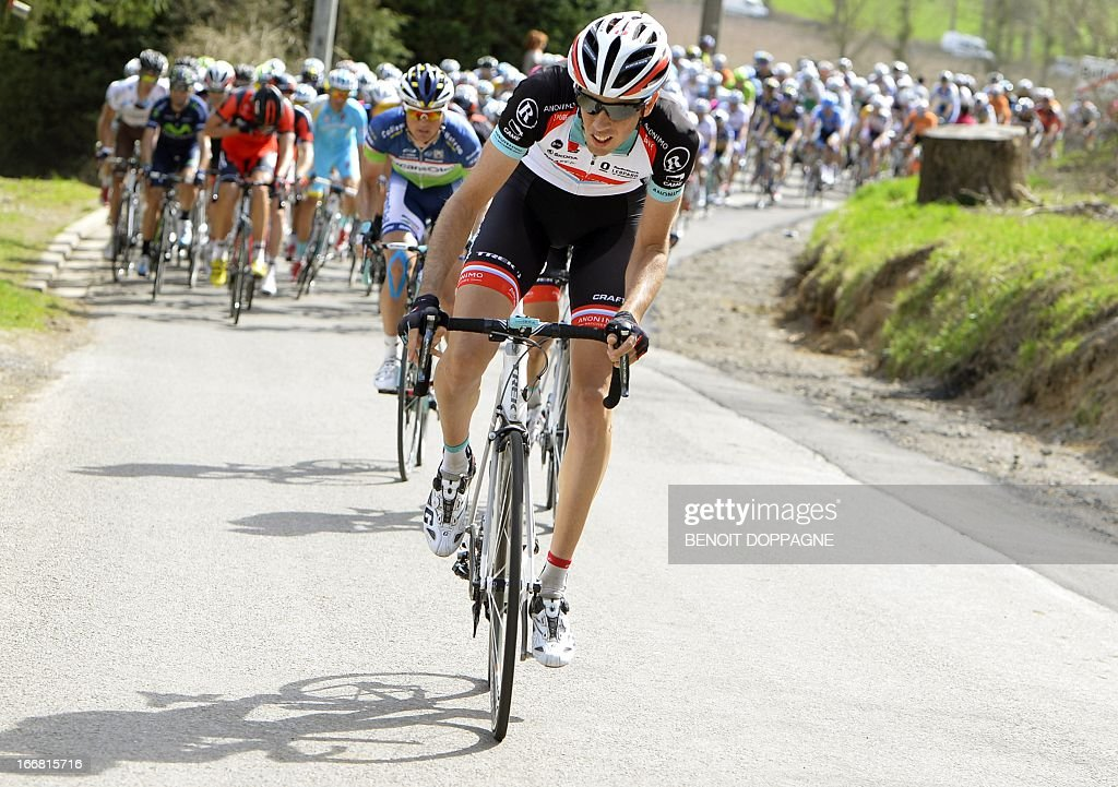 Luxembourgian Andy Schleck of team RadioShack-Leopard leads the pack during the 77th Fleche Wallonne one-day cycling race, from Binche to Huy, on April 17, 2013. The 31-year-old Spanish cyclist Daniel Moreno, whose team leader Joaquim Rodriguez won last year - beat two Colombians Sergio Henao and Carlos Alberto Betancur to the line in the 205km race.