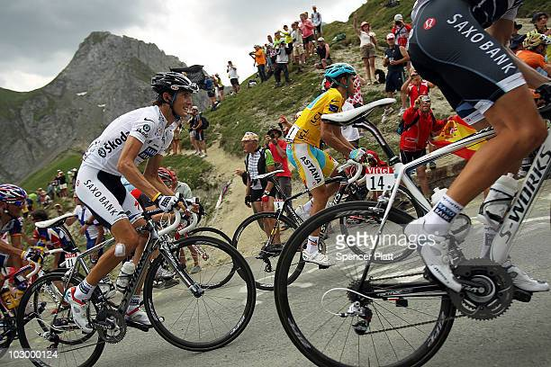 Luxembourg's Andy Schleck and Spaniard Alberto Contador in the yellow jersey ride up a climb during stage 16 of the Tour de France on July 20 2010 in...