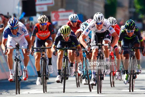 Luxembourg's Bob Jungels Colombia's Nairo Quintana France's Thibaut Pinot Italy's rider of team Bahrain Merida Vincenzo Nibali sprint to the finish...