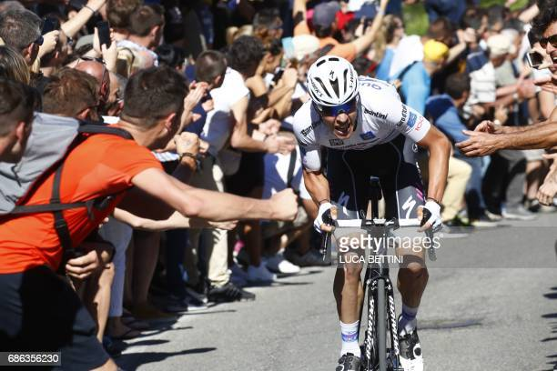 Luxembourg's Bob Jungels sprints during the 15th stage of the 100th Giro d'Italia Tour of Italy cycling race from Valdengo to Bergamo on May 21 2017...