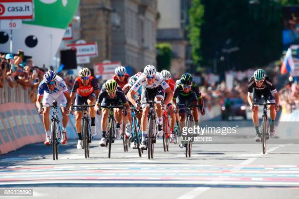 Luxembourg's Bob Jungels sprints to the finish line to win the 15th stage of the 100th Giro d'Italia Tour of Italy cycling race from Valdengo to...