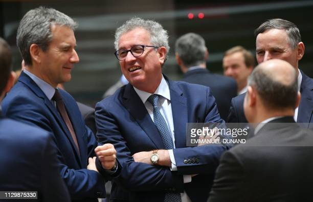 Luxembourg's Finance Minister Pierre Gramegna attends a Eurogroup finance minister's meeting at the European Council in Brussels on March 11 2019