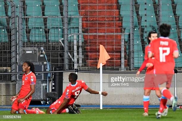 Luxembourg's forward Gerson Rodrigues celebrates with teammates after scoring a goal during the FIFA World Cup Qatar 2022 qualification Group A...