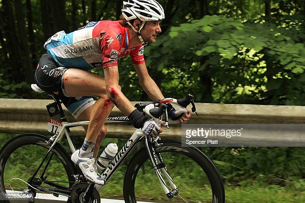 Luxembourg's Frank Schleck of team Saxo Bank is viewed after a crash along stage 2 of the Tour de France July 5, 2010 in Spa, Belgium. The 201km...