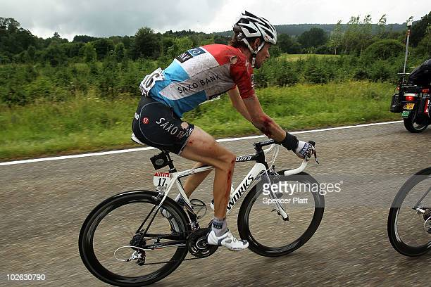 Luxembourg's Frank Schleck of team Saxo Bank is viewed after a crash along stage 2 of the Tour de France July 5 2010 in Spa Belgium The 201km route...