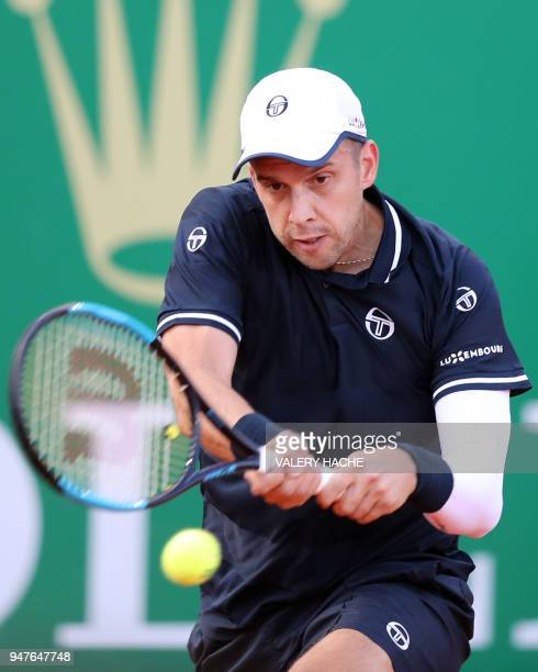 Luxembourg's Gilles Muller returns a ball to Germany's Alexander Zverev during their round of 32 tennis match at the MonteCarlo ATP Masters Series...
