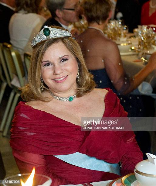 Luxembourg's Grand Duchess MariaTeresa smiles at the honorary table during the Nobel banquet following the Nobel Prize award ceremony held at the...
