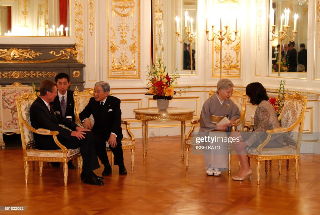 Luxembourg's Grand Duke Henri (L) and Princess Alexandra (R) attend a farewell call made by Japan's Emperor Akihito (3rd L) and Empress Michiko (2nd R) at Akasaka Palace state guest house in Tokyo on November 29, 2017. Grand Duke Henri of Luxembourg is on a four-day visit to Japan. /