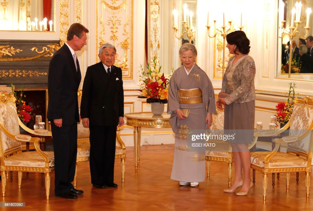 Luxembourg's Grand Duke Henri (L) and Princess Alexandra (R) attend a farewell call made by Japan's Emperor Akihito (2nd L) and Empress Michiko at Akasaka Palace state guest house in Tokyo on November 29, 2017. Grand Duke Henri of Luxembourg is on a four-day visit to Japan. /