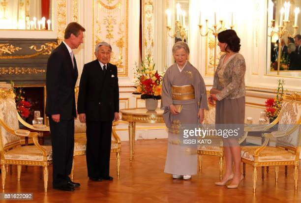 Luxembourg's Grand Duke Henri and Princess Alexandra attend a farewell call made by Japan's Emperor Akihito and Empress Michiko at Akasaka Palace...