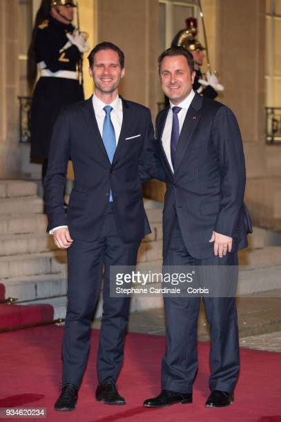 Luxembourg's Prime Minister Xavier Bettel and his husband Gauthier Destenay attend a State dinner at the Elysee Palace on March 19 2018 in Paris...