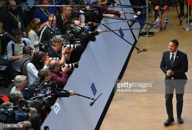 TOPSHOT Luxembourg's Prime minister Xavier Bettel arrives ahead of a European Council meeting on Brexit at The Europa Building at The European...