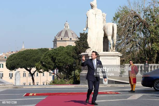 Luxembourg's Prime Minister Xavier Bettel arrives at the Capitole Hill ahead of a special summit of EU leaders to mark the 60th anniversary of the...