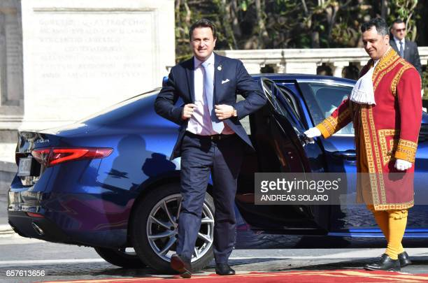 Luxembourg's Prime Minister Xavier Bettel arrives for a special summit of EU leaders to mark the 60th anniversary of the bloc's founding Treaty of...