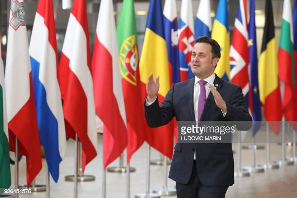 Luxembourg's Prime minister Xavier Bettel arrives on the first day of a summit of European Union leaders at the EU headquarters in Brussels on March...
