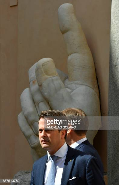 Luxembourg's Prime Minister Xavier Bettel attends a special summit of EU leaders to mark the 60th anniversary of the bloc's founding Treaty of Rome...