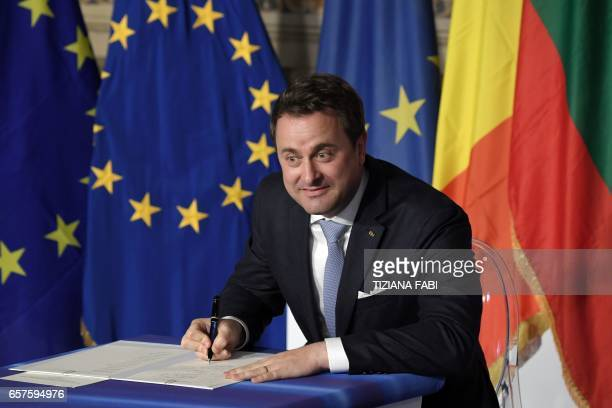 Luxembourg's Prime Minister Xavier Bettel signs the new Rome declaration with leaders of 27 European Union countries special during a summit of EU...