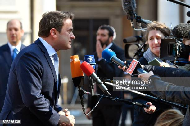 Luxembourg's Prime minister Xavier Bettel speaks to journalists ahead of a special summit of EU leaders to mark the 60th anniversary of the bloc's...