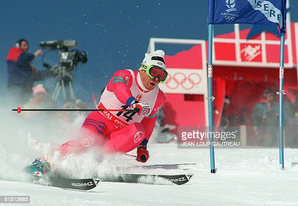 Luxembourg's skier Marc Girardelli clears a gate during the men's giant slalom 18 February 1992 in Val d'Isere near Albertville at the Winter Olympic...