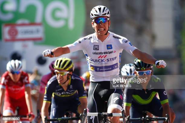Luxemburg's Bob Jungels celebrates as he crosses the finish line to win the 15th stage of the 100th Giro d'Italia Tour of Italy cycling race from...