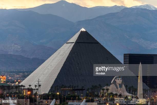 Luxor Casino Building in Las Vegas Nevada in the evening