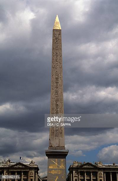 Luxor obelisk in the centre of Place de la Concorde facing the National assembly Paris IledeFrance France