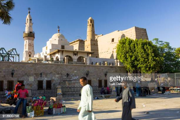 Luxor street scene with temple and mosque