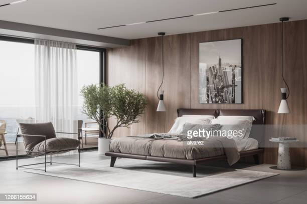 luxurious and elegant bedroom interiors - bedroom stock pictures, royalty-free photos & images