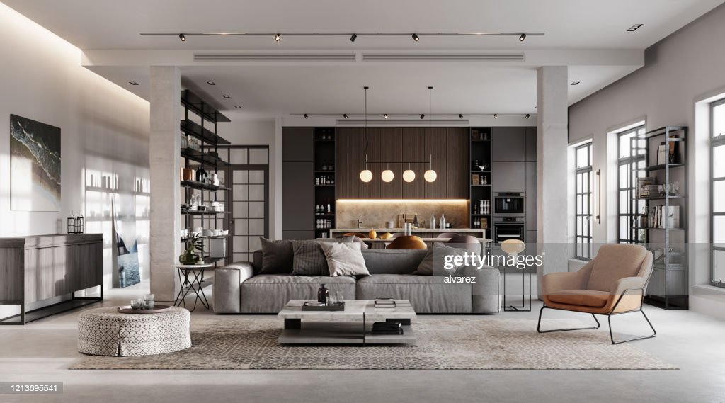 Luxurious and modern living room 3D rendering : Stock Photo