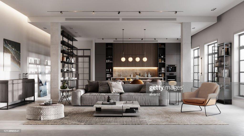 Rendering 3D del soggiorno lussuoso e moderno : Foto stock