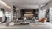 Luxurious and modern living room 3D rendering