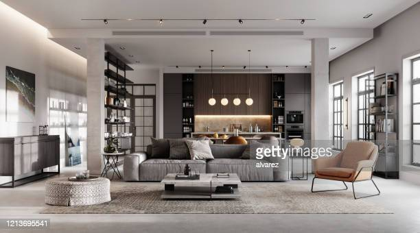 luxurious and modern living room 3d rendering - modern stock pictures, royalty-free photos & images