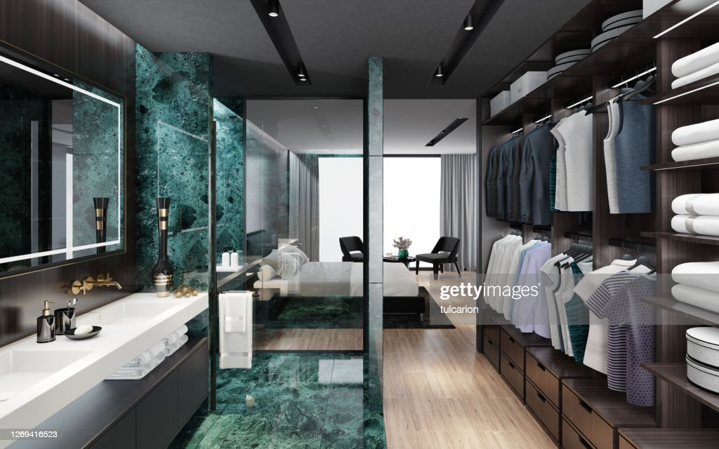 Luxurious Apartment Master Bedroom Interior With Bathroom With Shower Big Green Marble Tiles Inspired By High Class Hotel Room High Res Stock Photo Getty Images