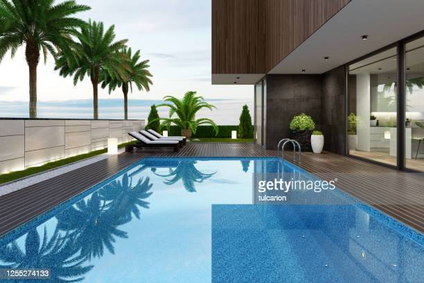 luxurious beach side villa with swimming pool and palm trees at summer sunset scene - swimming pool stock pictures, royalty-free photos & images
