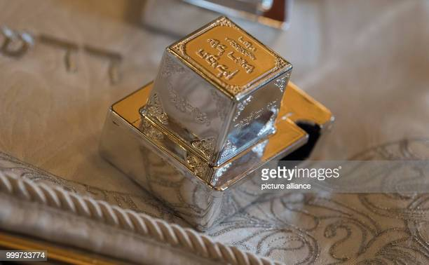 A luxurious box for a Tefilin can be seen at the Westend Synagogue in Frankfurt/Main Germany 5 September 2017 Religious jews from different...