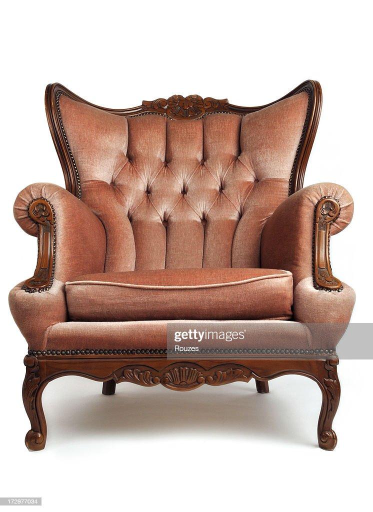 Luxurious, brown, armchair on white background : Stock Photo