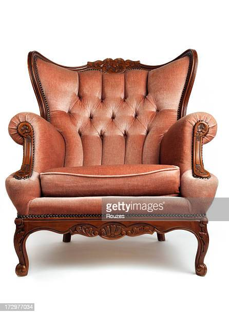 luxurious, brown, armchair on white background - chair stock pictures, royalty-free photos & images