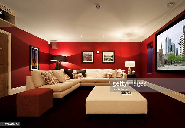 luxurious cinema room with projection - entertainment center stock pictures, royalty-free photos & images