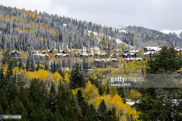 luxurious condominiums and ski resorts in park city, utah - park city utah stock pictures, royalty-free photos & images