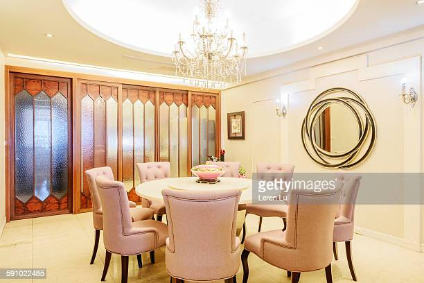 Luxurious dining room with crystal lamp