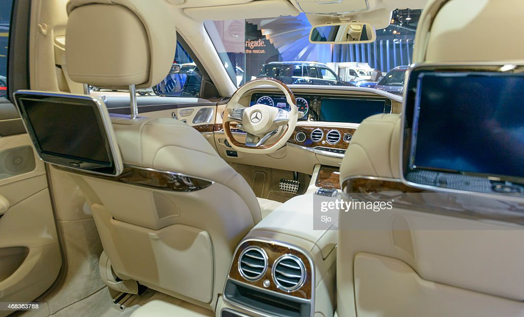 Luxurious interior on a Mercedes-Benz S-Class : Stock Photo