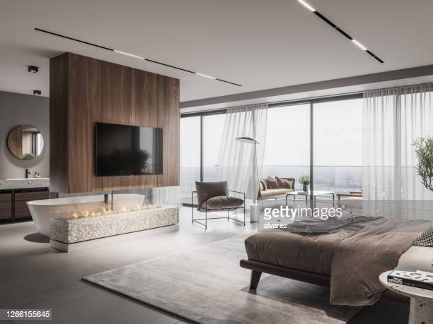 luxurious master bedroom interior - bedroom stock pictures, royalty-free photos & images