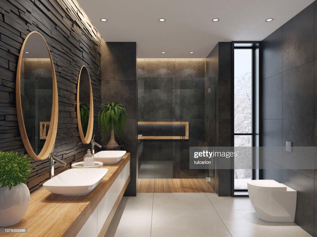 Luxurious minimalist bathroom with slate black stone wall : Stock Photo