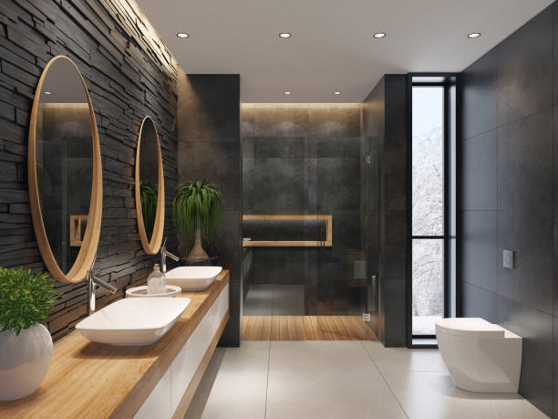 luxurious minimalist bathroom with slate black stone wall - modern stock pictures, royalty-free photos & images