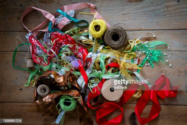 luxurious ribbons and colourful threads - needlecraft stock pictures, royalty-free photos & images