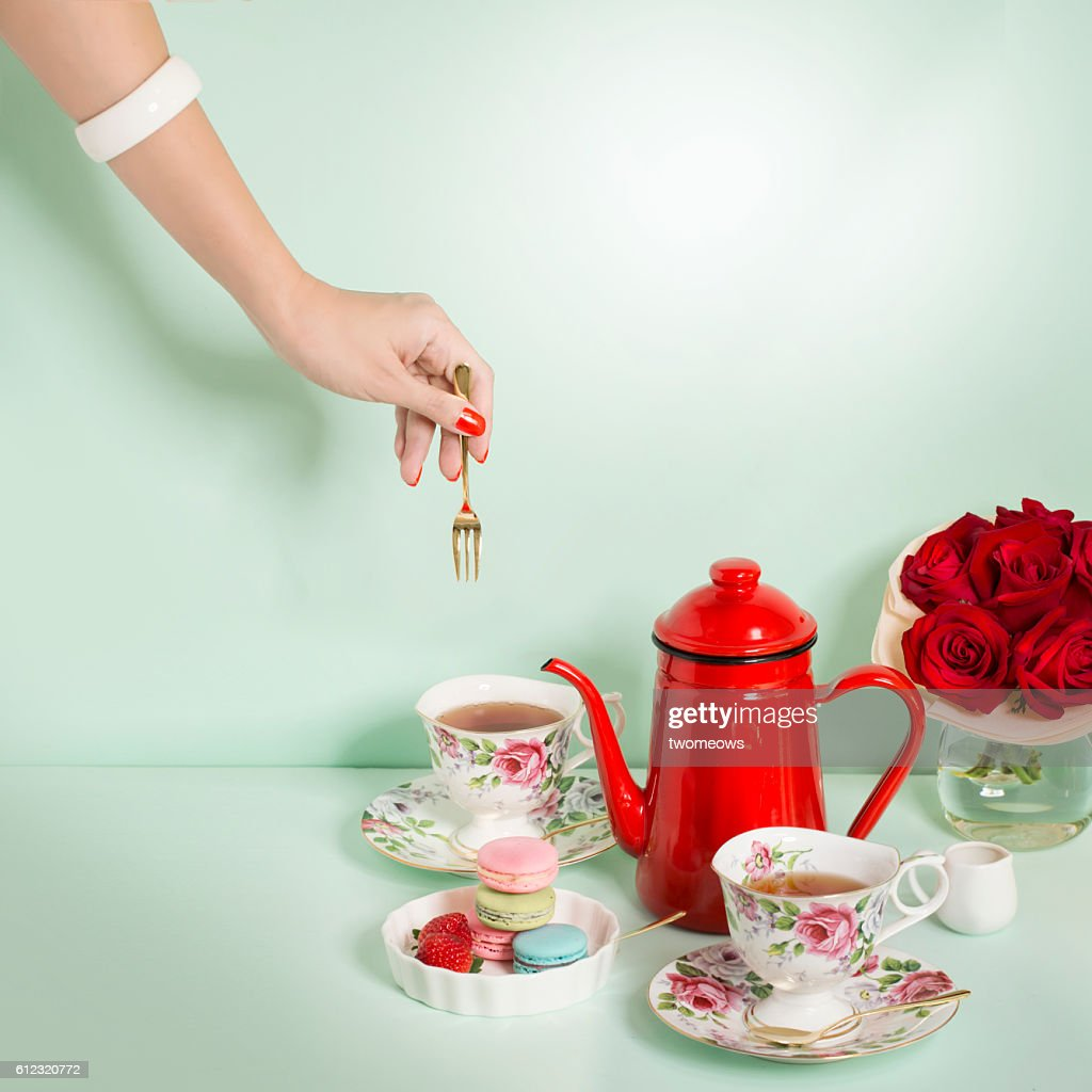 luxury afternoon tea time table top shot. : Stock Photo