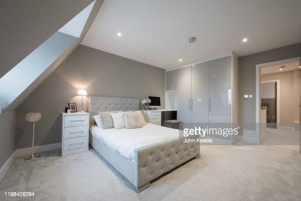 luxury apartment - bedroom stock pictures, royalty-free photos & images