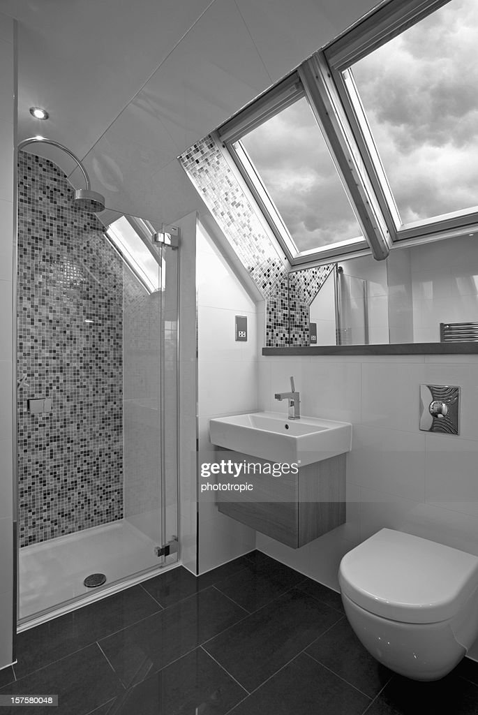 Luxury Attic Bathroom In Black And White Stock Photo