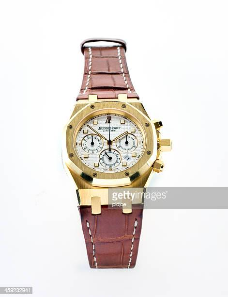 luxury audemars piquet royal oak chronograph wristwatch - strap stock pictures, royalty-free photos & images